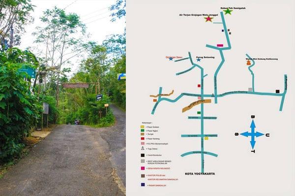 Pintu Masuk Desa Wisata Nglinggo dan Peta Menuju Kebun Teh