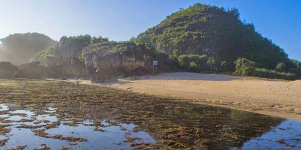 Pantai Ngrumput, Bentangan Pasir Putih dan Tebing Bebatuan